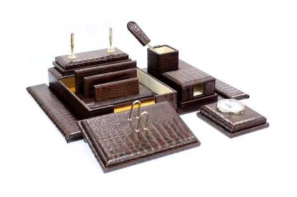 Набор настольный 9 предметов, дерево, темно-коричневая кожа Grand