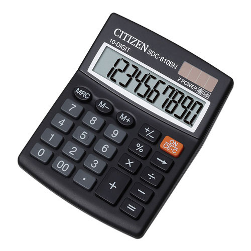 Калькулятор 10 разрядов, 12.4x10.2см, черный Citizen