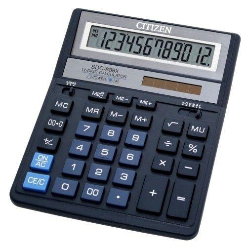 Калькулятор 12 разрядов, 15.8x20.5см, синий Citizen