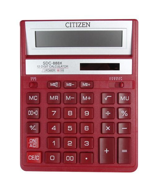 Калькулятор 12 разрядов, 15.8x20.5см, красный Citizen