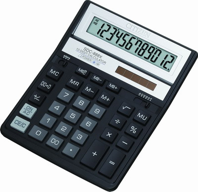Калькулятор 12 разрядов, 15.8x20.5см, черный Citizen