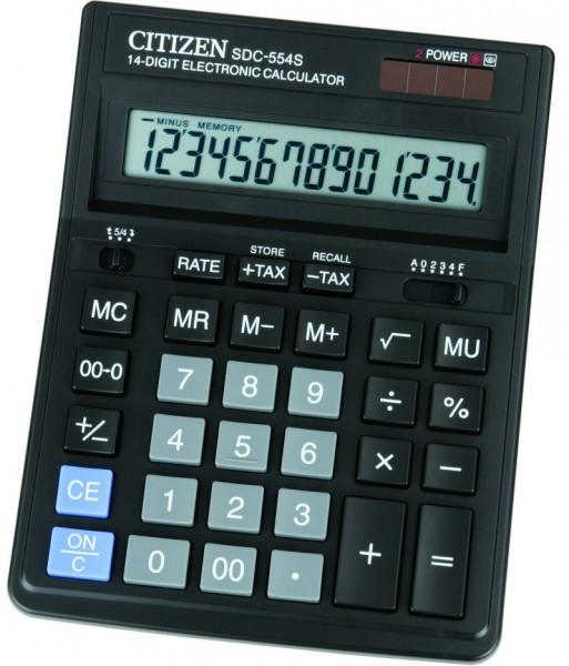 Калькулятор 14 разрядов, 15.5x19.9см, черный Citizen