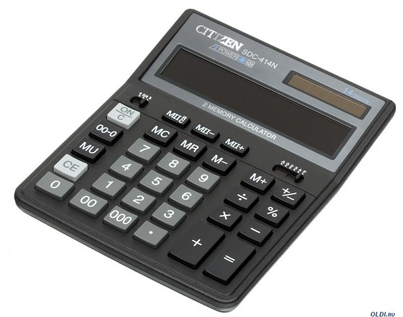 Калькулятор 14 разрядов, 15.8x20.5см, черный Citizen