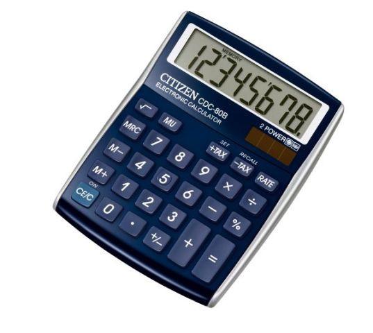 Калькулятор 8 разрядов, 10.8x13.5см, синий Citizen