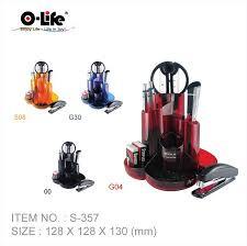 Набор настольный 9 предметов, пластик, красный O-Life