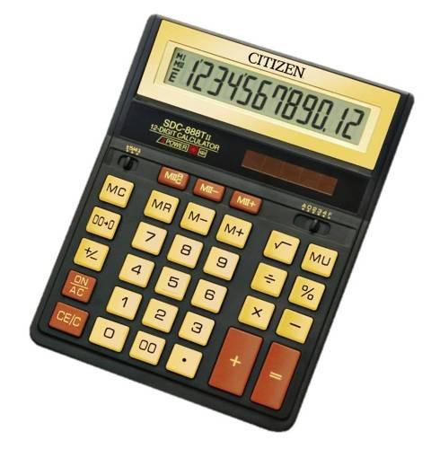 Калькулятор 12 разрядов, 15.8x20.5см, черный/золотой Citizen