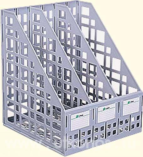 Лоток вертикальный сборный 3 отделения серый, СТАММ