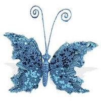 Декор Бабочка бархатная голубой топаз с блестками 14х15см KA703820