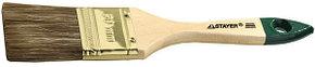 """Кисть плоская STAYER """"LASUR-STANDARD"""", смешанная (натуральная и искусственная) щетина, деревянная ручка, 100мм"""