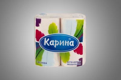 Бумажные полотенца «Карина-Перья» 2 рул/уп, двухслойные, с тиснением и перфорацией, влагопрочные