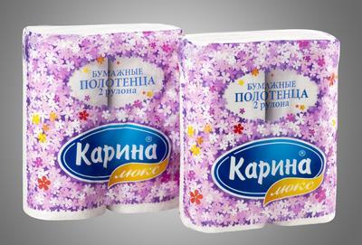 Бумажные полотенца «Карина люкс» 2 рул/уп, двухслойные, с тиснением и перфорацией, влагопрочные