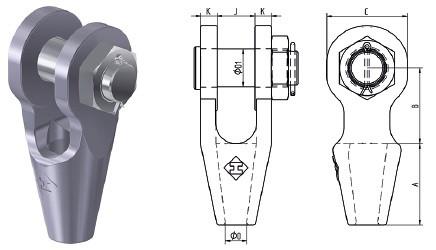 Открытая заливная муфта OSS с гайкой и шплинтом стального каната