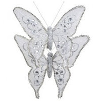 Декор Бабочка из органзы 15х12см сереб. со стразами KA703315