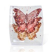 Декор Бабочка из органзы в ассортименте с блестками 11х9см KA703876