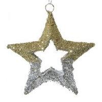 Декор Звезда из сизаля серебро/золото d=30см