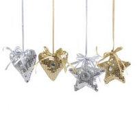 Декор Звезда/Сердце из ткани золот/серебристые с блескам d=11см KA611453