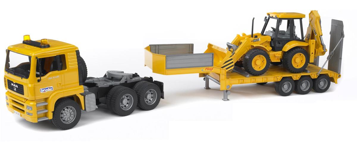 Тягач брудер MAN с колёсным экскаватором-погрузчиком JCB 4CX
