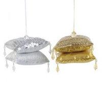 Декор Подушечки из ткани золот/серебристые 8х8х6см KA611454