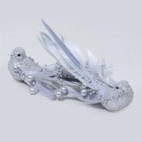 Декор Птица с пером серебр. с блеском 14см 2шт/уп KA700043