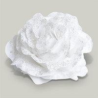 Декор Роза белоснежная с блеском на клипсе d=14см KA629576