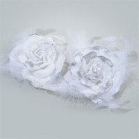 Декор Роза из бархата с пером белая 10см 2шт/уп KA707598