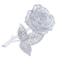 Декор Роза прозр/серебр с блеском 6х11см KA517639