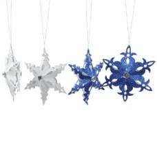 Декор Снежинка бумажн. серебр/синяя d=17см KA451075