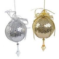 Декор Шары из ткани золото/серебро d=8см