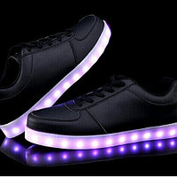 LED Кроссовки со светящейся подошвой, черные низкие, 37-42