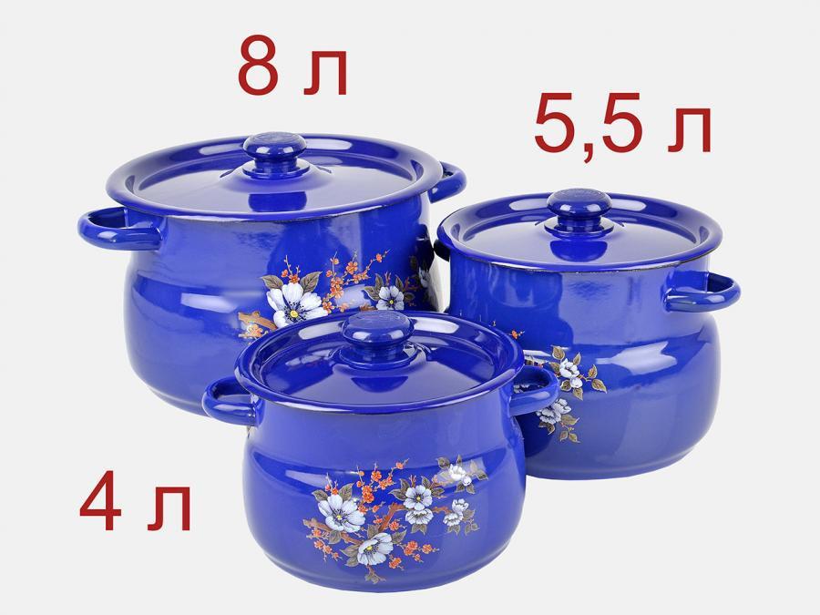 Набор эмалированных кастрюль синий Весенний цвет