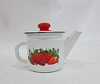 Чайник заварной 1 л декор белый с пластм.кнопкой С2707.3