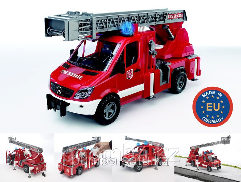 Игрушка - пожарный МВ Sprinter с лестницей (+водяная помпа+свет и звук)