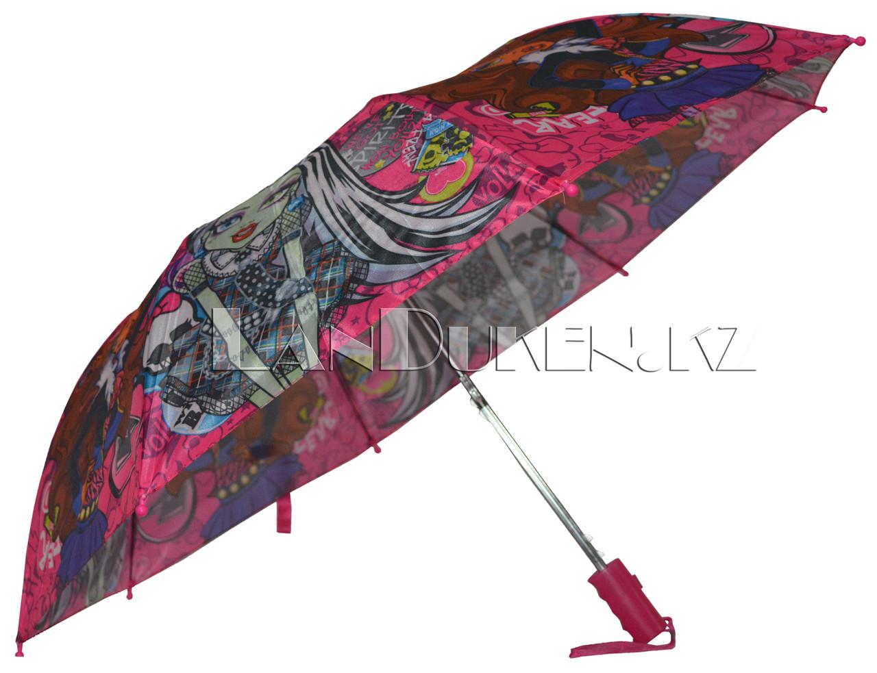 """Детский складной зонтик """"Монстр хай"""" (розовый) - фото 1"""