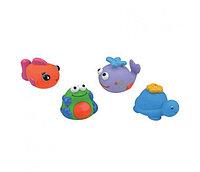 Набор для ванны из 4-х игрушек (черепашка, кит, рыбка, лягушка)
