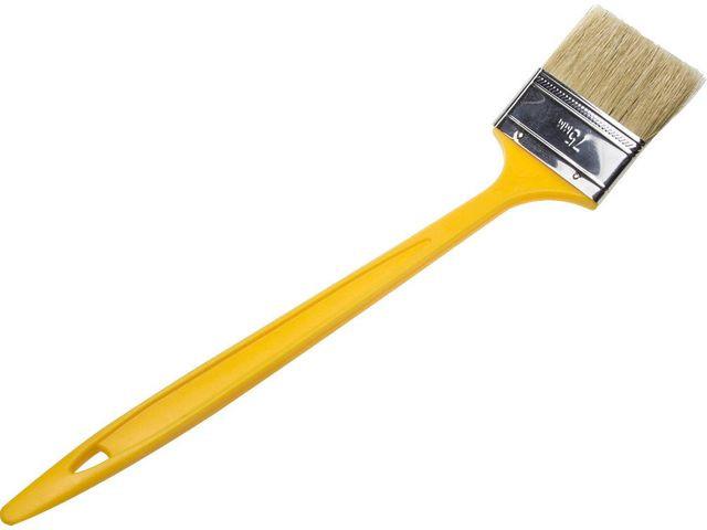 """Кисть радиаторная STAYER """"UNIVERSAL-MASTER"""", светлая натуральная щетина, пластмассовая ручка, 75мм"""