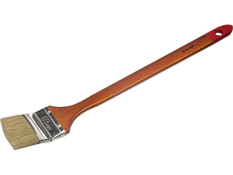 """Кисть радиаторная угловая ЗУБР """"УНИВЕРСАЛ-МАСТЕР"""", светлая натуральная щетина, деревянная ручка, 63мм"""