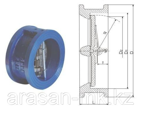 Клапан обратный чугунный Ру16 Ду80 19ч21бр