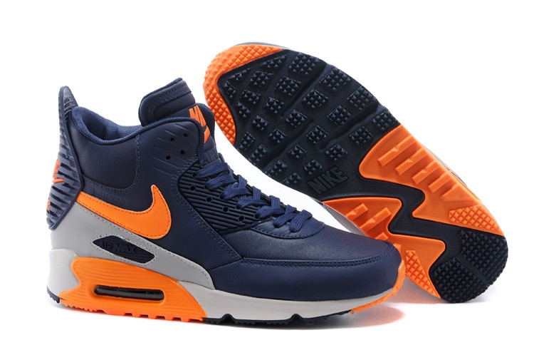 Зимние кроссовки Nikе Air Max 90 Sneakerboot Navy Blue Orange Grey (40-45)