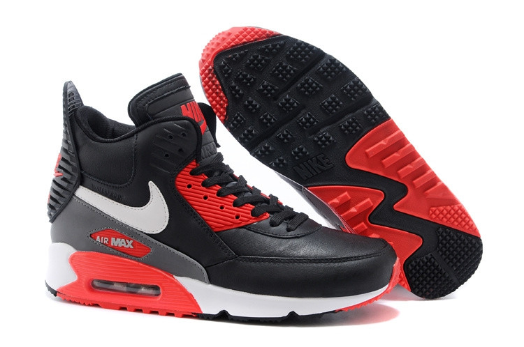 Зимние кроссовки Nike Air Max 90 Sneakerboot Black Red White (40-45)