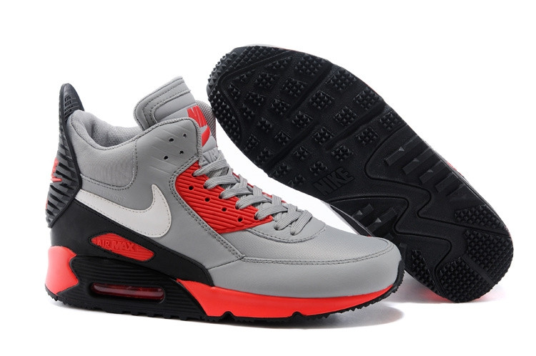 Зимние кроссовки Nikе Air Max 90 Sneakerboot Grey Red Black (40-45)