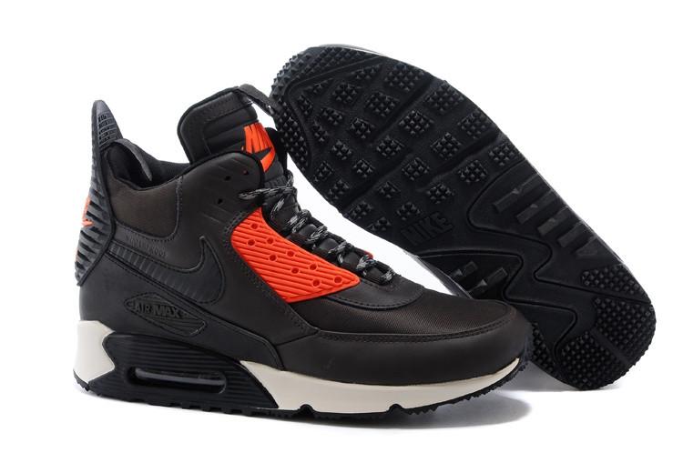 Зимние кроссовки Nike Air Max 90 Sneakerboot Brown Orange (40-45)