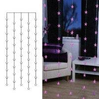 Гирлянда-занавес 0,9х2м светодиод. Звезды розовые 50диодов 2006-35