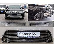 Накладка на решетку бампера и радиатора (хром) Camry 55