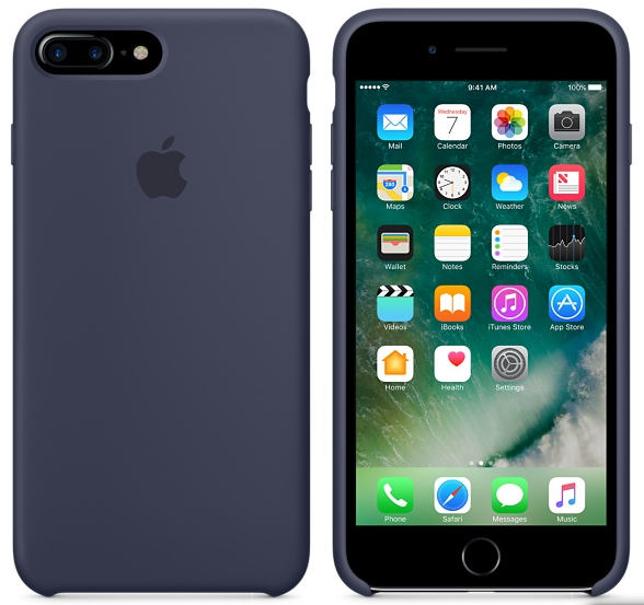 Cиликоновый чехол для iPhone 7 Plus (темно-синий)