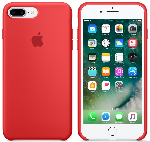 Cиликоновый чехол для iPhone 7 Plus / 8 Plus (красный) - фото 3