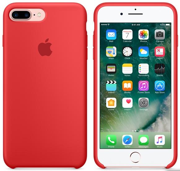 Cиликоновый чехол для iPhone 7 Plus / 8 Plus (красный) - фото 5
