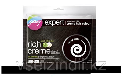 Краска-крем для волос на основе хны Godrej Expert Rich Crème, натуральный черный (natural black)