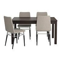 Стол и 4 стула БЬЮРСТА / ПРЕБЕН коричнево-чёрный, Тено светло-серый ИКЕА, IKEA, фото 1