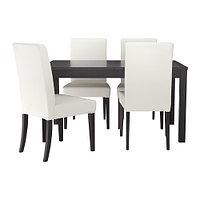 Стол и 4 стула БЬЮРСТА / ПРЕБЕН черный Грэсбу белый ИКЕА, IKEA, фото 1