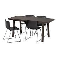 Стол и 4 стула ВЭСТАНБИ/ ВЭСТАНО / БЕРНГАРД темно-коричневый ИКЕА, IKEA, фото 1